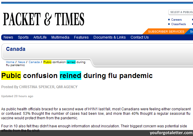 Pubic confusion reined during flu pandemic