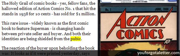 Rare Superman comic sells for a record $1 million