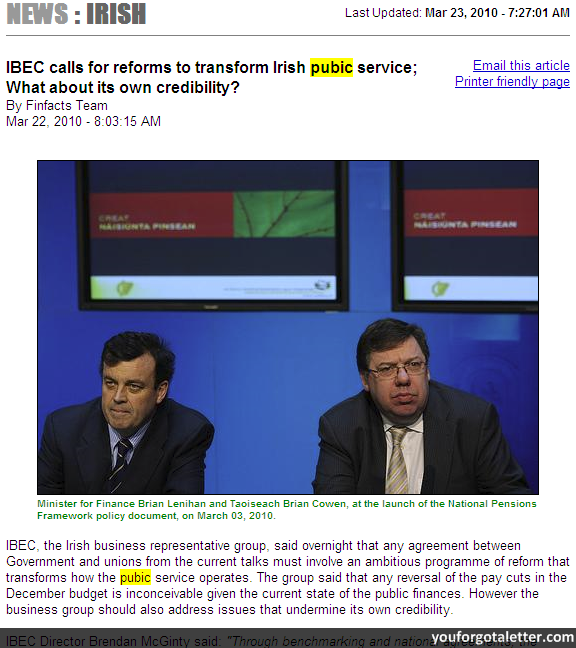 IBEC calls for reforms to transform Irish pubic service; What about its own credibility?