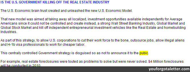 IS THE U.S. GOVERNMENT KILLING OFF THE REAL ESTATE INDUSTRY