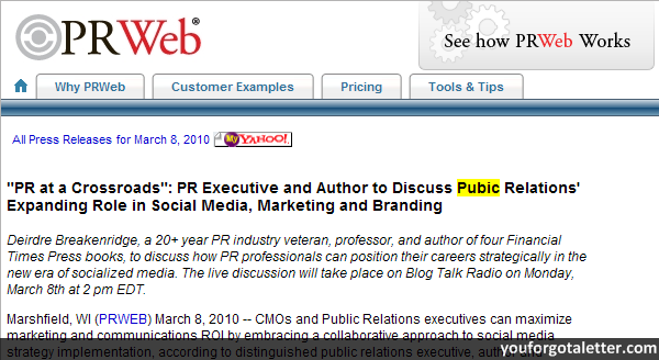 PR Executive and Author to Discuss Pubic Relations' Expanding Role in Social Media, Marketing and Branding
