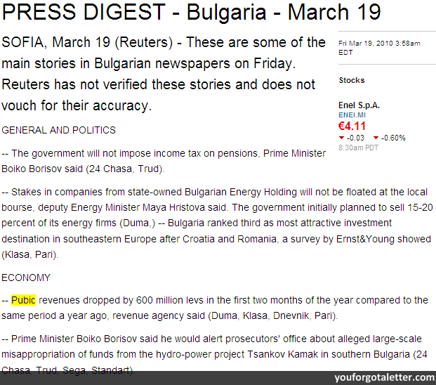PRESS DIGEST - Bulgaria - March 19