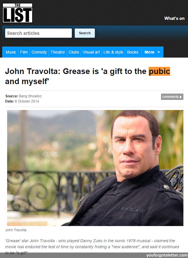 The List - John Travolta: Grease is 'a gift to the pubic and myself'