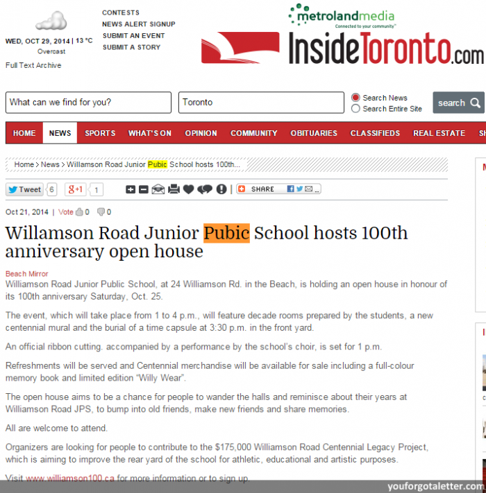Inside Toronto - Willamson Road Junior Pubic School hosts 100th anniversary open house